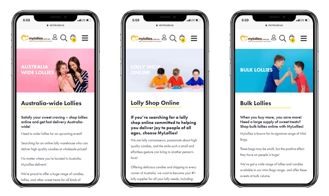 My Lollies Confetti Design Melbourne website design agency phone