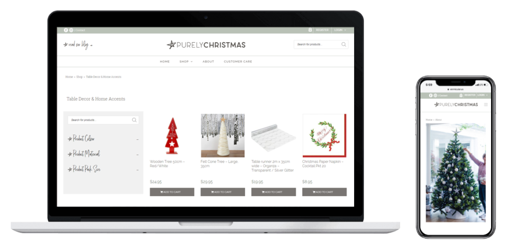 Purely christmas WooCommerce Online store